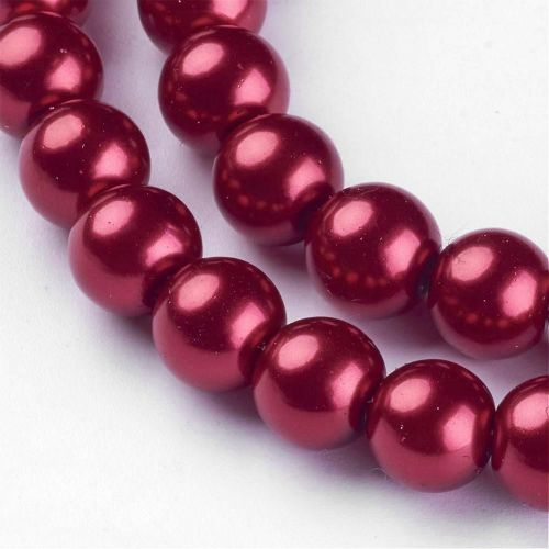 Glass Pearl Beads Fire Brick 8mm